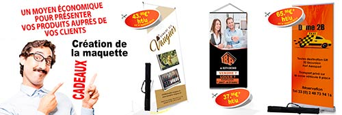 Promotion de kakemono, totem et roll up publicitaire.